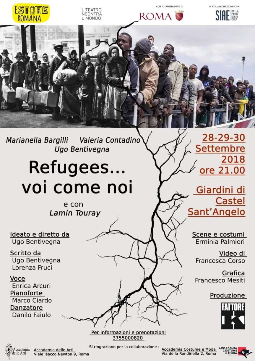 Il teatro incontra il mondo | REFUGEES… VOI COME NOI, scritto e diretto da Ugo Bentivegna – dal 28 al 30Settembre