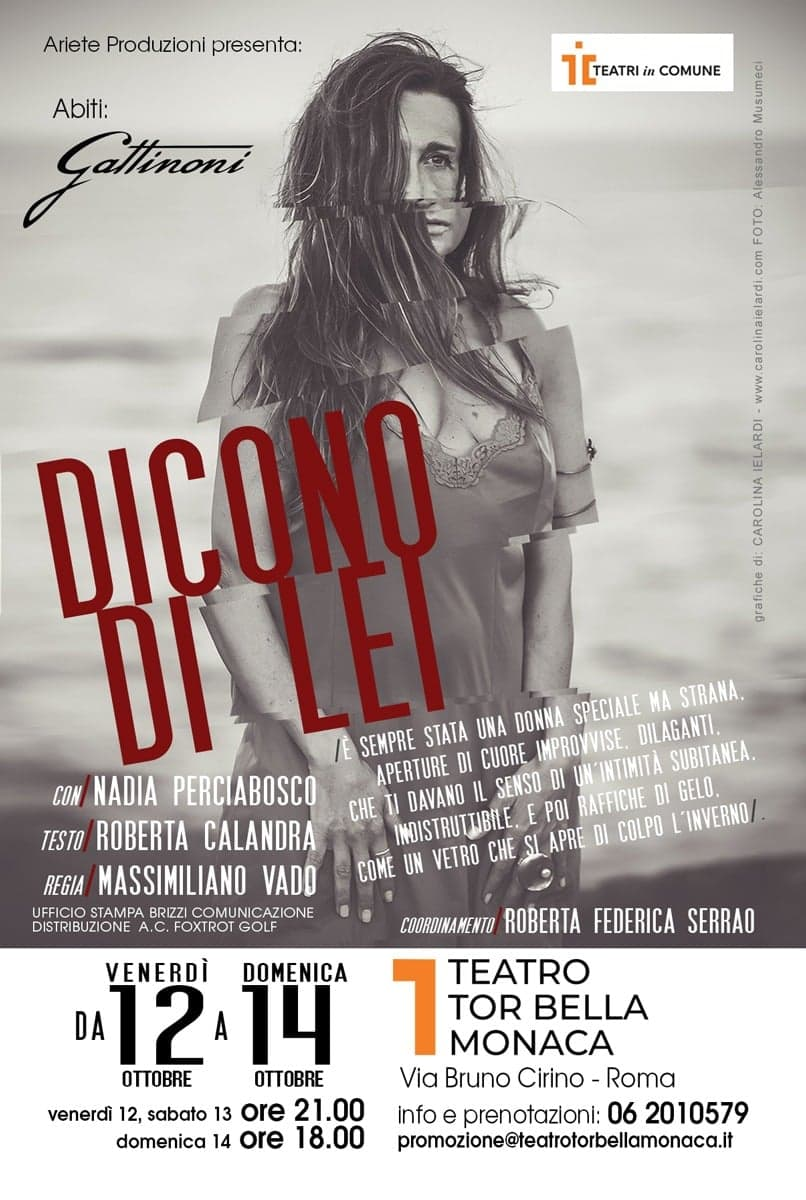Teatro Tor Bella Monaca | DICONO DI LEI dal 12 ottobre, regia di MassimilianoVado