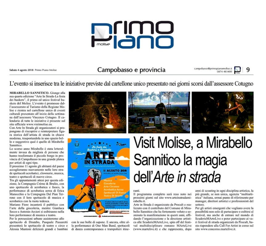 Primo Piano Molise - Arte In Strada 2018