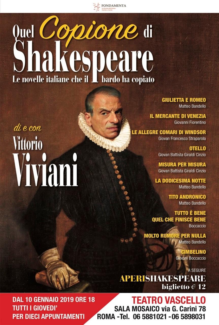 Teatro Vascello |  Ogni giovedì Vittorio Viviani in QUEL COPIONE DISHAKESPEARE