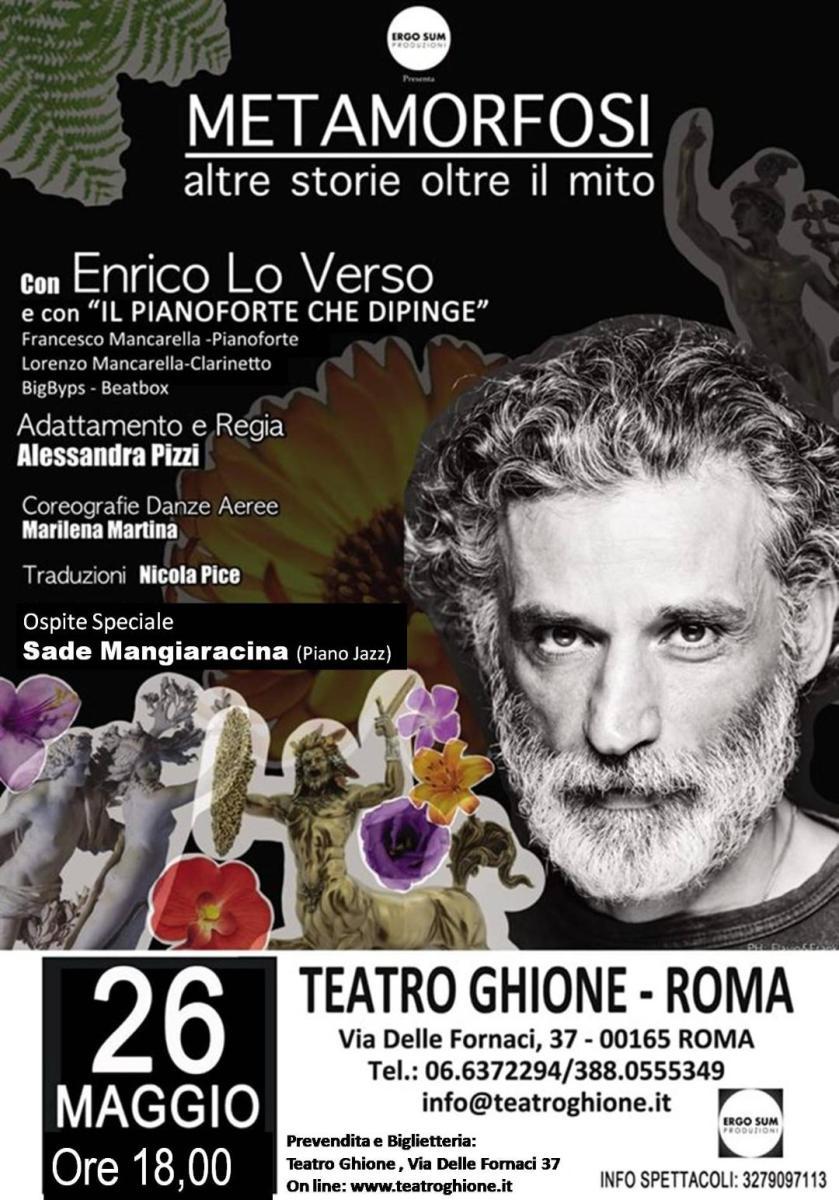 Teatro Ghione | Il 26 maggio Enrico Lo Verso in METAMORFOSI, altre Storie Oltre il Mito